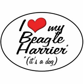 Amo mi corredor de cross del beagle (es un perro) adorno fotoescultura