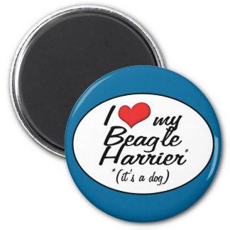 Amo mi corredor de cross del beagle (es un perro) imán redondo 5 cm