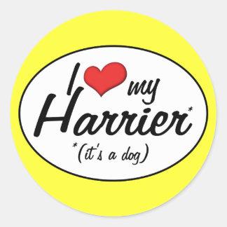 Amo mi corredor de cross (es un perro) pegatina redonda