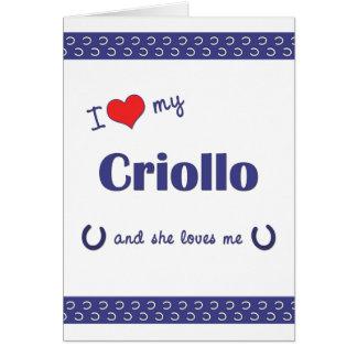 Amo mi criollo (el caballo femenino) tarjeta pequeña