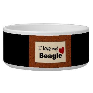 Amo mi cuenco del perro del beagle comedero para mascota