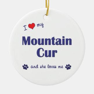 Amo mi Cur de la montaña (el perro femenino) Adorno Navideño Redondo De Cerámica