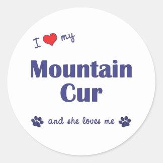 Amo mi Cur de la montaña (el perro femenino) Pegatina Redonda