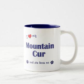 Amo mi Cur de la montaña (el perro femenino) Taza De Dos Tonos