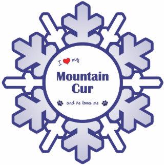 Amo mi Cur de la montaña (el perro masculino) Adorno Fotoescultura