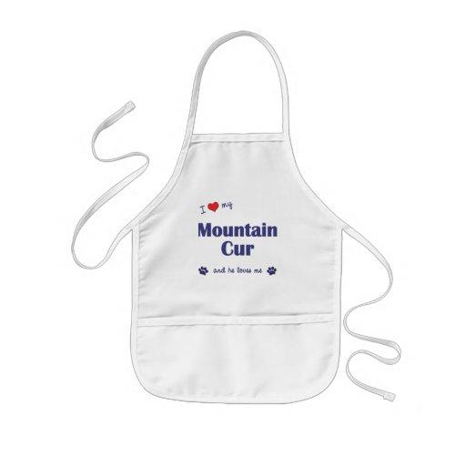 Amo mi Cur de la montaña (el perro masculino) Delantal Infantil