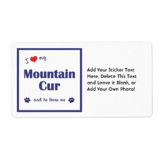 Amo mi Cur de la montaña (el perro masculino) Etiqueta De Envío