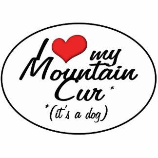 Amo mi Cur de la montaña (es un perro) Adorno Fotoescultura