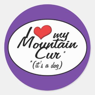 Amo mi Cur de la montaña (es un perro) Pegatina Redonda