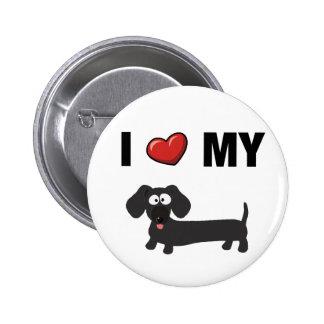Amo mi dachshund (el negro) pin