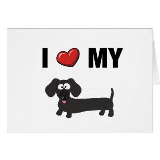 Amo mi dachshund (el negro) tarjeta de felicitación