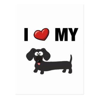 Amo mi dachshund (el negro) tarjetas postales