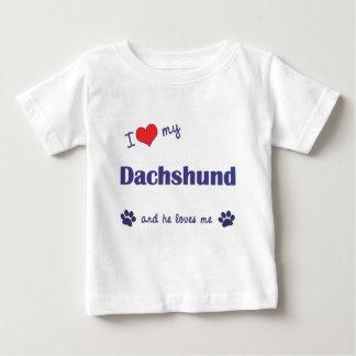 Amo mi Dachshund (el perro masculino) Playera De Bebé