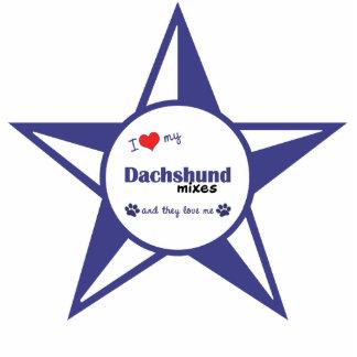 Amo mi Dachshund me mezclo (los perros múltiples) Adorno Fotoescultura