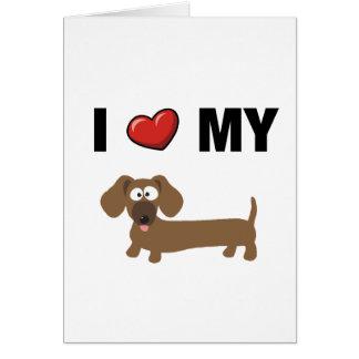 Amo mi dachshund tarjeta de felicitación
