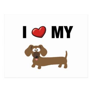 Amo mi dachshund tarjetas postales