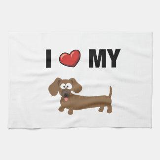 Amo mi dachshund toalla de mano