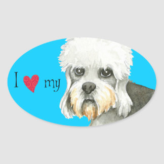 Amo mi Dandie Dinmont Terrier Pegatina Ovalada