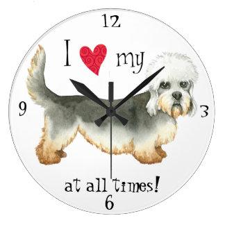 Amo mi Dandie Dinmont Terrier Reloj Redondo Grande