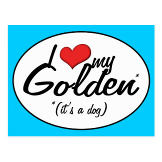 Amo mi de oro (es un perro) postales