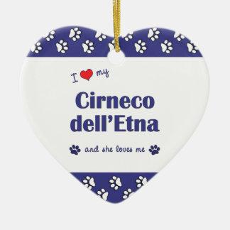 Amo mi dell Etna de Cirneco el perro femenino Adornos De Navidad
