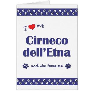 Amo mi dell Etna de Cirneco el perro femenino Felicitaciones