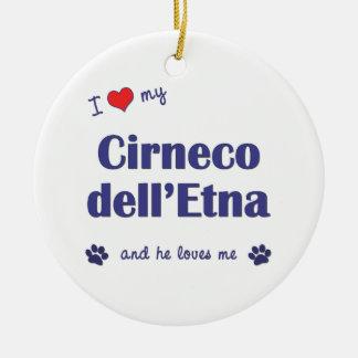 Amo mi dell Etna de Cirneco el perro masculino Ornamento Para Reyes Magos