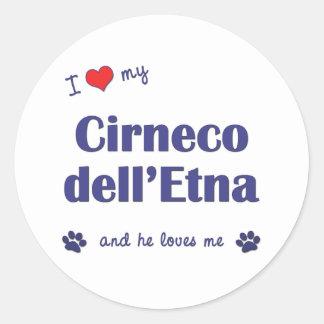 Amo mi dell Etna de Cirneco el perro masculino Etiquetas Redondas
