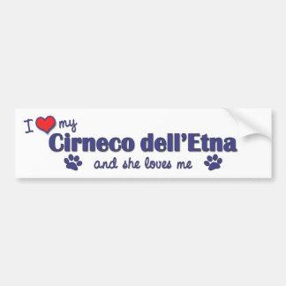 Amo mi dell'Etna de Cirneco (el perro femenino) Etiqueta De Parachoque