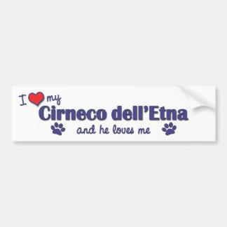 Amo mi dell'Etna de Cirneco (el perro masculino) Pegatina De Parachoque