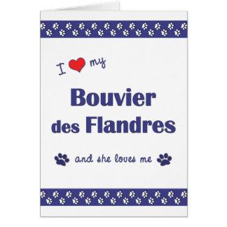 Amo mi DES Flandres (el perro femenino) de Bouvier Tarjeta Pequeña