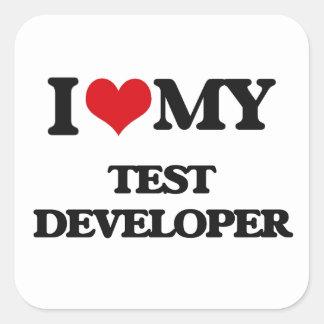 Amo mi desarrollador de la prueba pegatina cuadrada