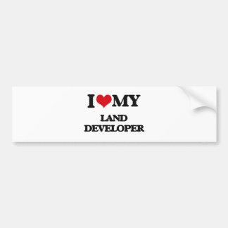 Amo mi desarrollador de la tierra etiqueta de parachoque