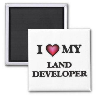 Amo mi desarrollador de la tierra imán cuadrado