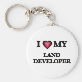Amo mi desarrollador de la tierra llavero redondo tipo pin