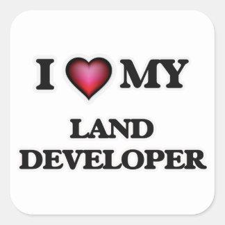 Amo mi desarrollador de la tierra pegatina cuadrada