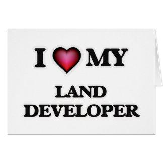 Amo mi desarrollador de la tierra tarjeta de felicitación