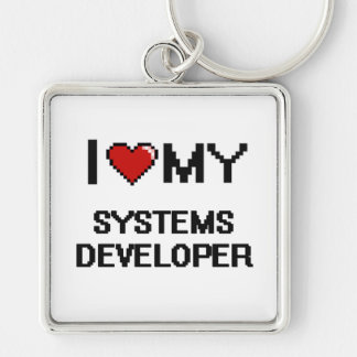Amo mi desarrollador de los sistemas llavero cuadrado plateado