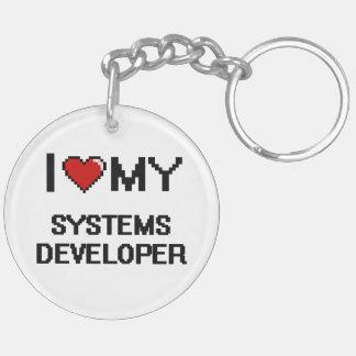 Amo mi desarrollador de los sistemas llavero redondo acrílico a doble cara