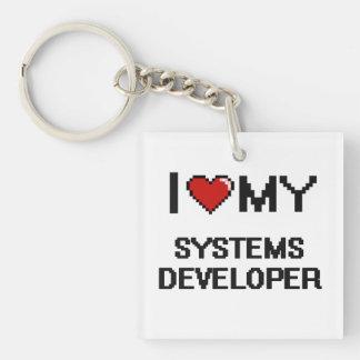 Amo mi desarrollador de los sistemas llavero cuadrado acrílico a una cara