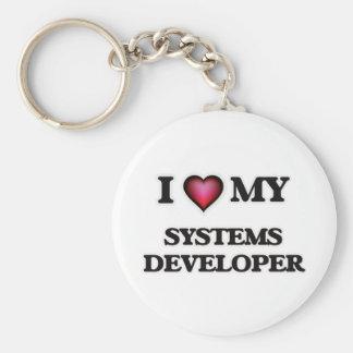 Amo mi desarrollador de los sistemas llavero redondo tipo pin