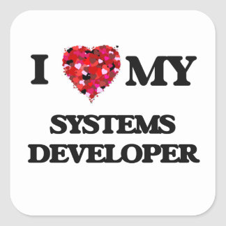 Amo mi desarrollador de los sistemas pegatina cuadrada