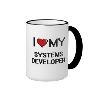 Amo mi desarrollador de los sistemas taza a dos colores