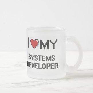 Amo mi desarrollador de los sistemas taza cristal mate