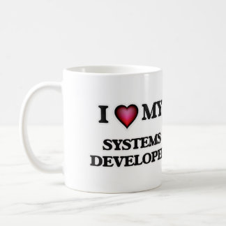 Amo mi desarrollador de los sistemas taza de café
