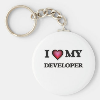 Amo mi desarrollador llavero redondo tipo pin