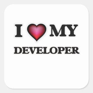 Amo mi desarrollador pegatina cuadrada