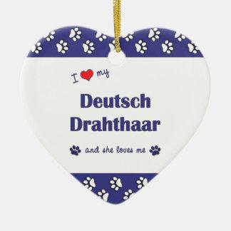 Amo mi Deutsch Drahthaar (el perro femenino) Adorno De Cerámica En Forma De Corazón