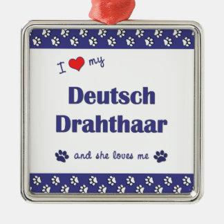 Amo mi Deutsch Drahthaar (el perro femenino) Adorno Cuadrado Plateado