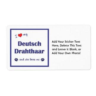 Amo mi Deutsch Drahthaar (el perro femenino) Etiqueta De Envío